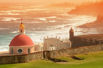 Scenic view of old fort in San Juan Puerto Rico.
